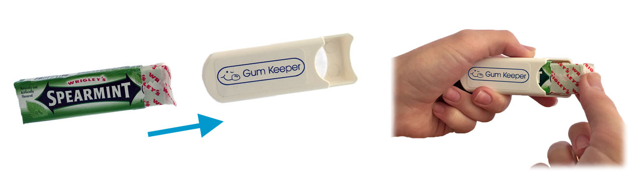 Gum Keeper chewing gum holder case in action