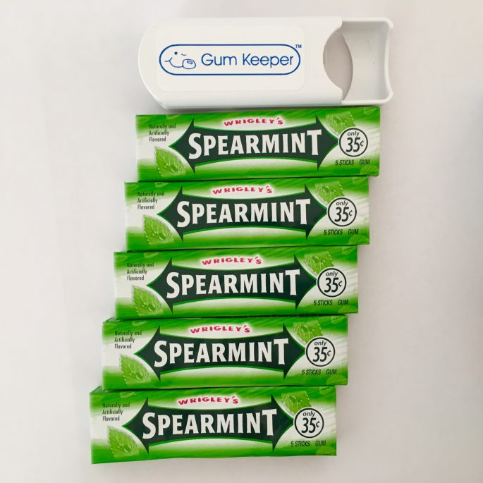 Gum Keeper and 5 packs of Wrigley's Spearmint Gum
